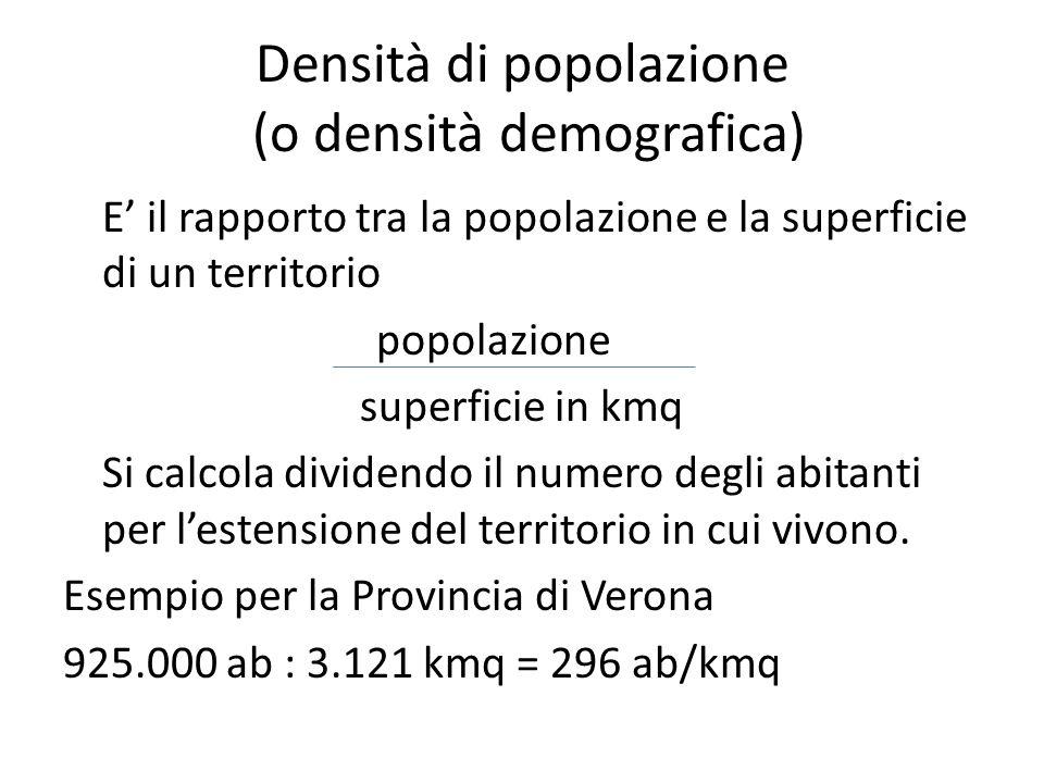 Densità di popolazione (o densità demografica)