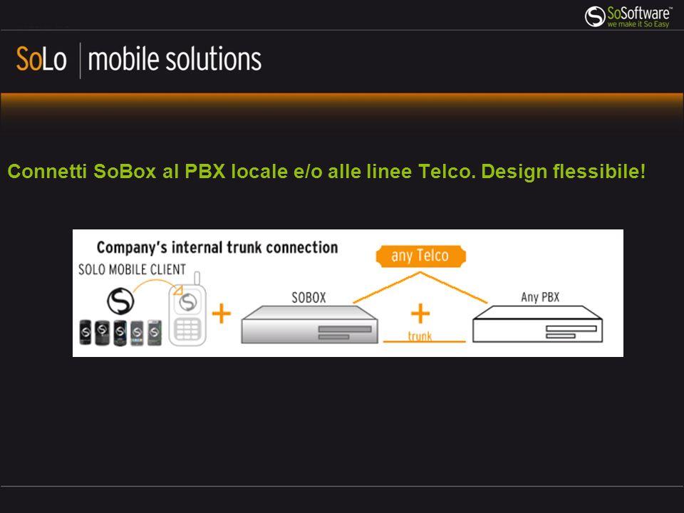 Connetti SoBox al PBX locale e/o alle linee Telco. Design flessibile!