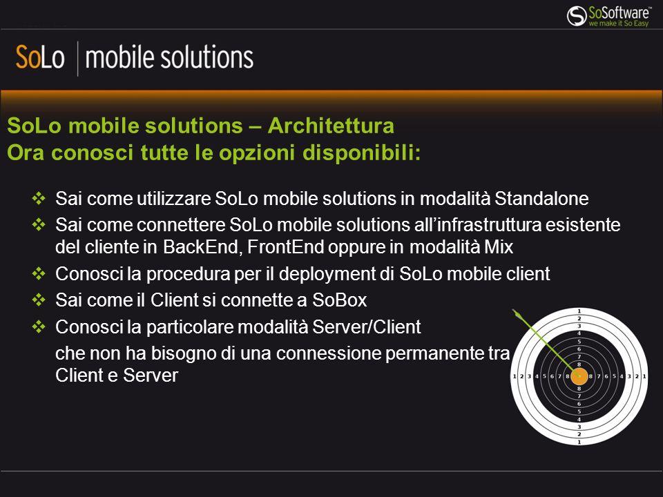SoLo mobile solutions – Architettura Ora conosci tutte le opzioni disponibili: