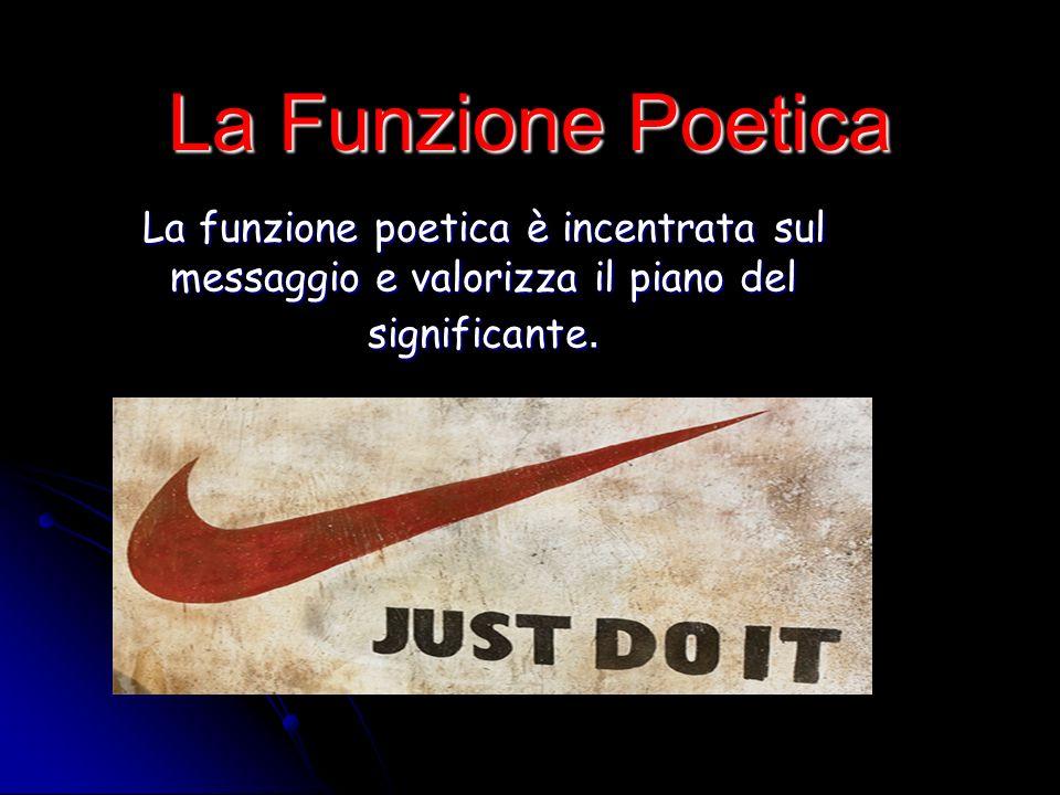 La Funzione Poetica La funzione poetica è incentrata sul messaggio e valorizza il piano del significante.