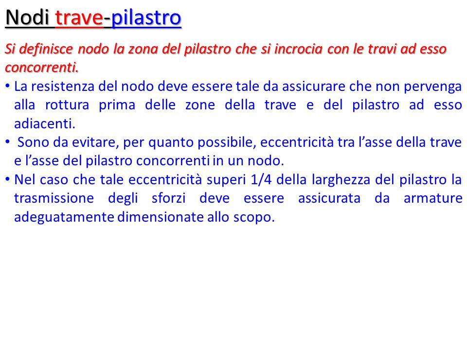 Nodi trave-pilastro Si definisce nodo la zona del pilastro che si incrocia con le travi ad esso concorrenti.