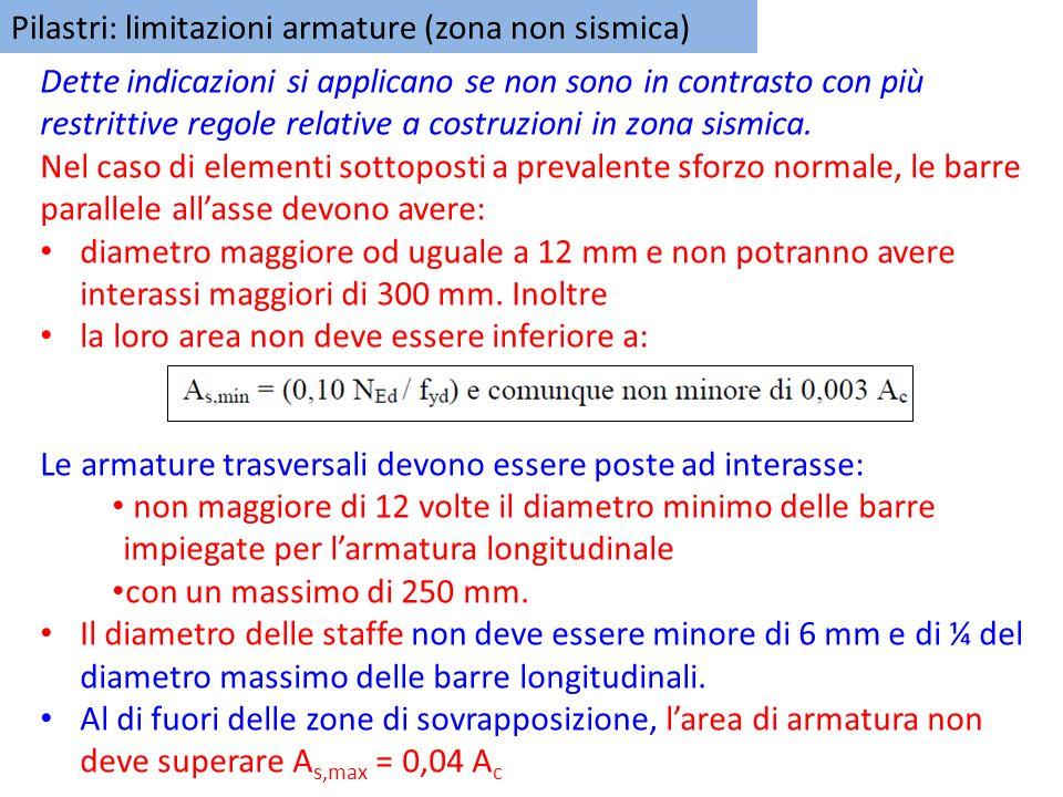 Pilastri: limitazioni armature (zona non sismica)