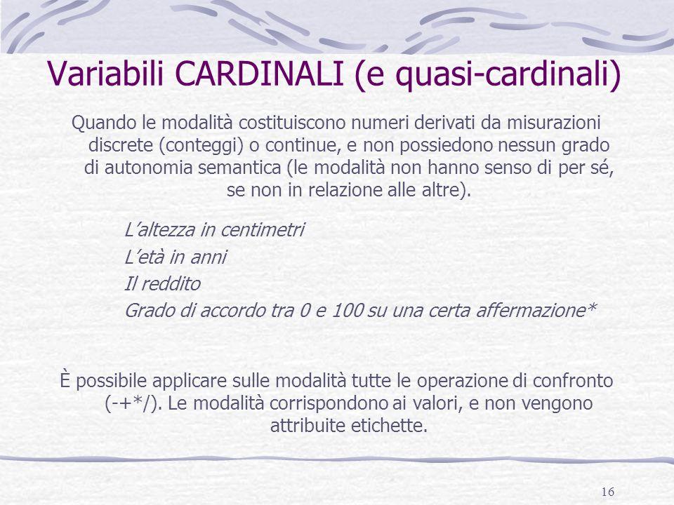 Variabili CARDINALI (e quasi-cardinali)