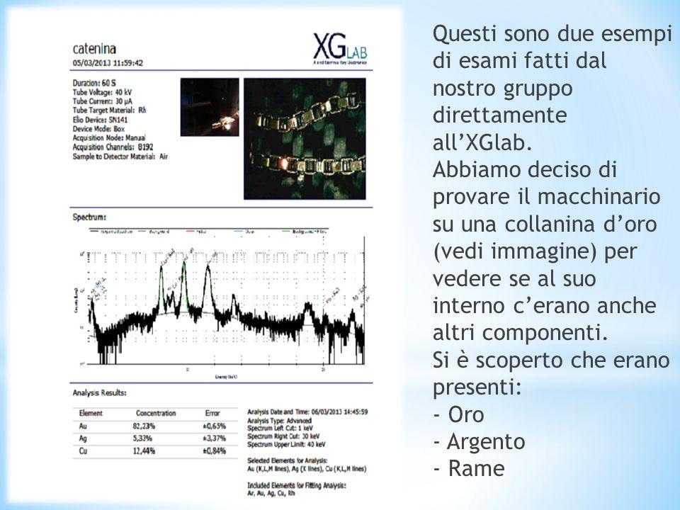 Questi sono due esempi di esami fatti dal nostro gruppo direttamente all'XGlab.