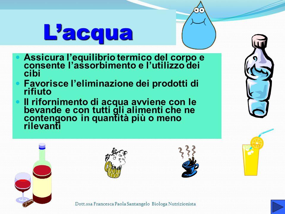 L'acqua Assicura l'equilibrio termico del corpo e consente l'assorbimento e l'utilizzo dei cibi. Favorisce l'eliminazione dei prodotti di rifiuto.