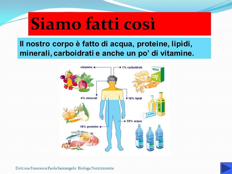 Siamo fatti così Il nostro corpo è fatto di acqua, proteine, lipìdi, minerali, carboidrati e anche un po' di vitamine.