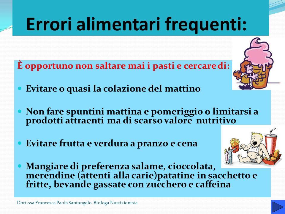 Errori alimentari frequenti: