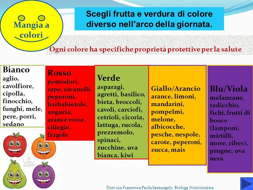 Scegli frutta e verdura di colore diverso nell arco della giornata.