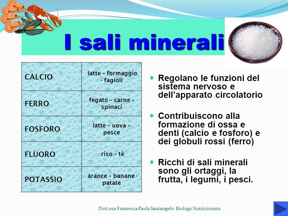 I sali minerali CALCIO. latte – formaggio - fagioli. FERRO. fegato – carne – spinaci. FOSFORO.
