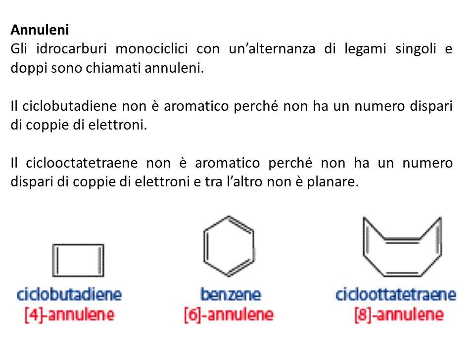 Annuleni Gli idrocarburi monociclici con un'alternanza di legami singoli e doppi sono chiamati annuleni.