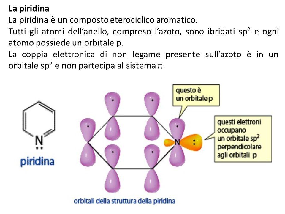 La piridinaLa piridina è un composto eterociclico aromatico.