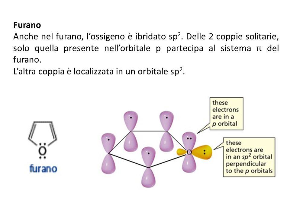 FuranoAnche nel furano, l'ossigeno è ibridato sp2. Delle 2 coppie solitarie, solo quella presente nell'orbitale p partecipa al sistema π del furano.