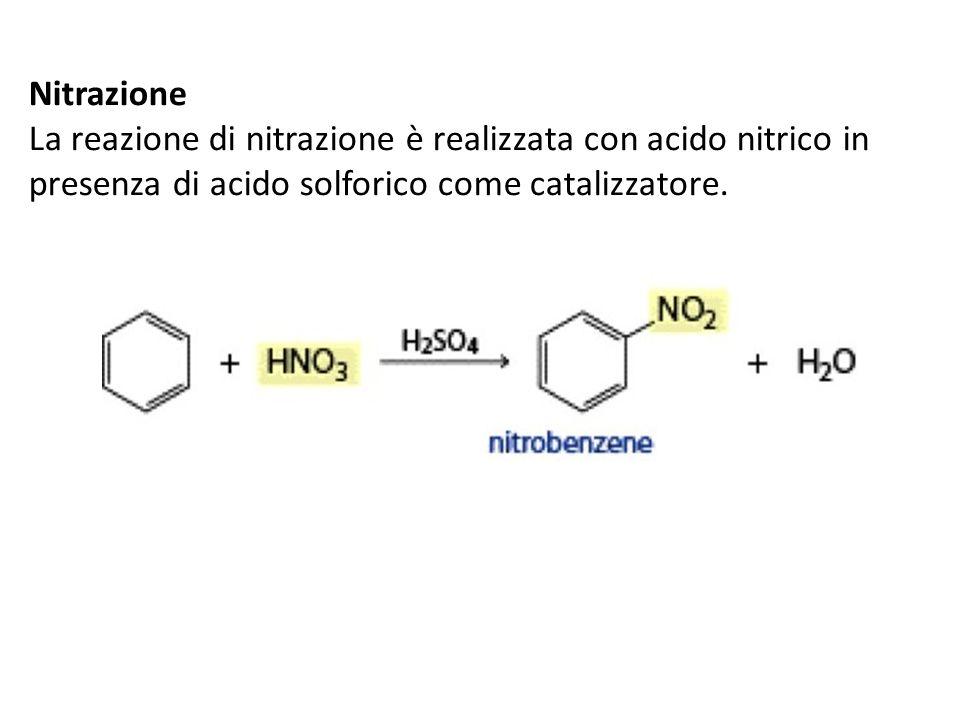 NitrazioneLa reazione di nitrazione è realizzata con acido nitrico in presenza di acido solforico come catalizzatore.