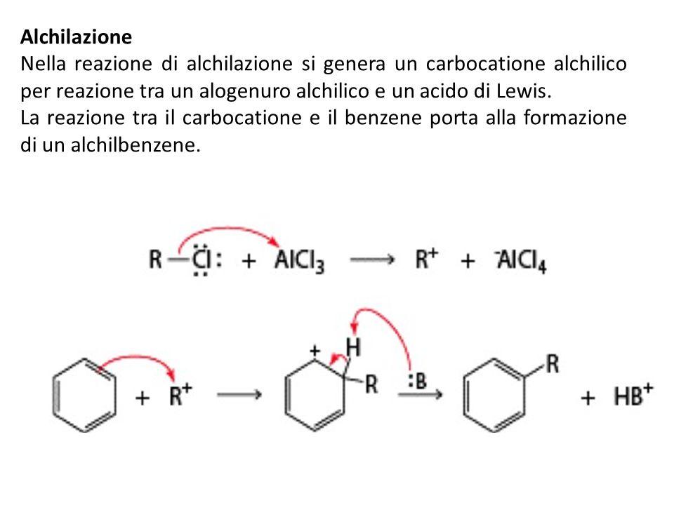 AlchilazioneNella reazione di alchilazione si genera un carbocatione alchilico per reazione tra un alogenuro alchilico e un acido di Lewis.
