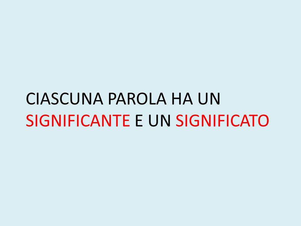 CIASCUNA PAROLA HA UN SIGNIFICANTE E UN SIGNIFICATO