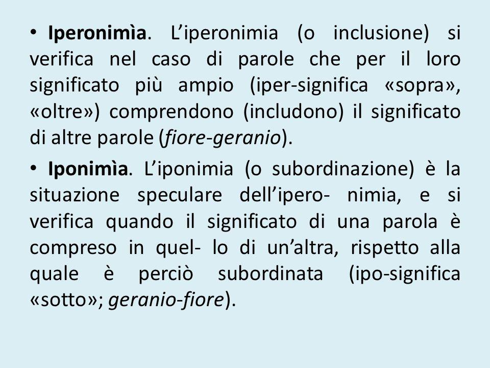 Iperonimìa. L'iperonimia (o inclusione) si verifica nel caso di parole che per il loro significato più ampio (iper-significa «sopra», «oltre») comprendono (includono) il significato di altre parole (fiore-geranio).