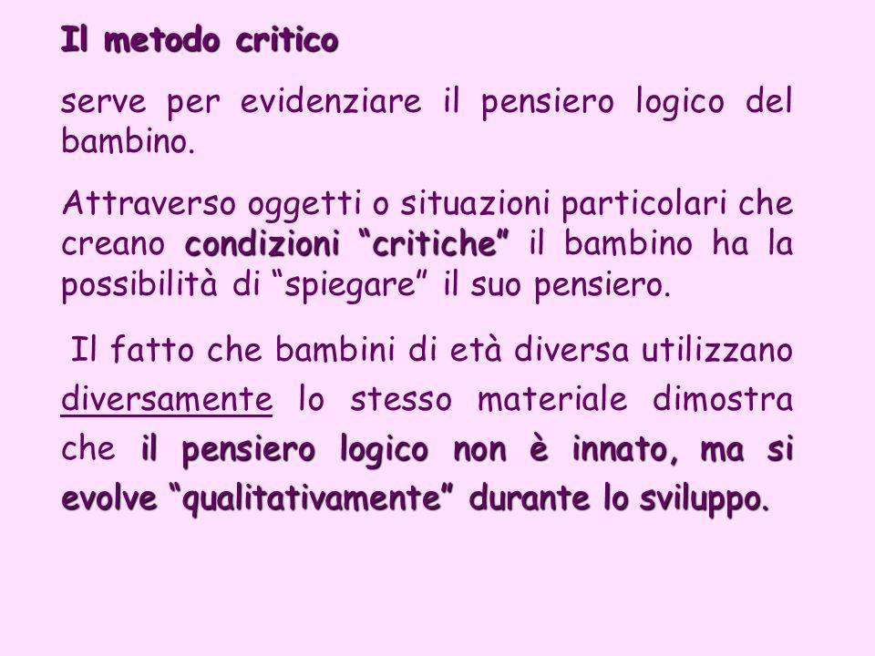 Il metodo critico serve per evidenziare il pensiero logico del bambino.