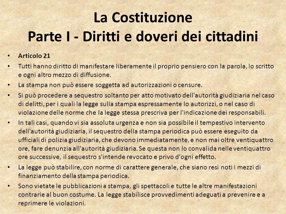 La Costituzione Parte I - Diritti e doveri dei cittadini