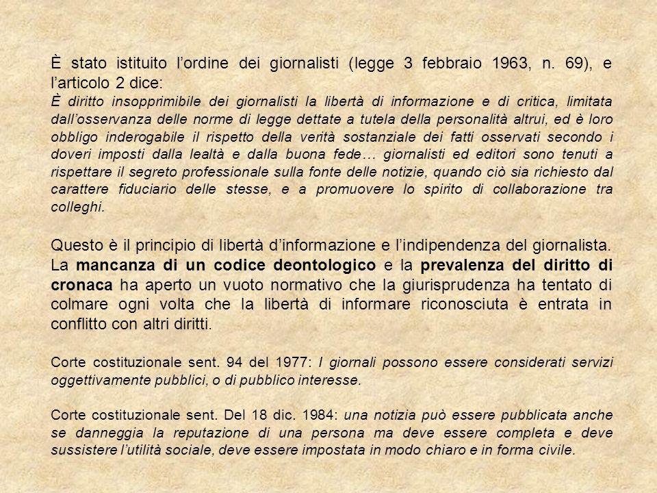 È stato istituito l'ordine dei giornalisti (legge 3 febbraio 1963, n