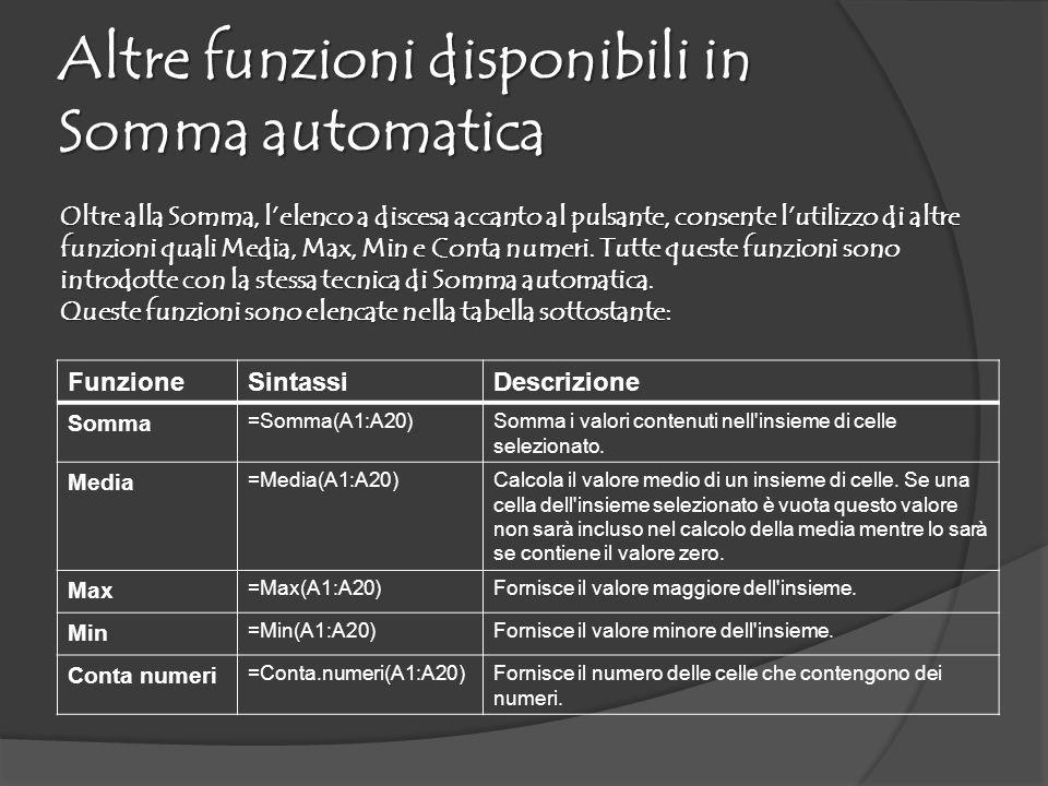 Altre funzioni disponibili in Somma automatica
