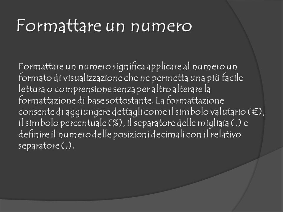 Formattare un numero