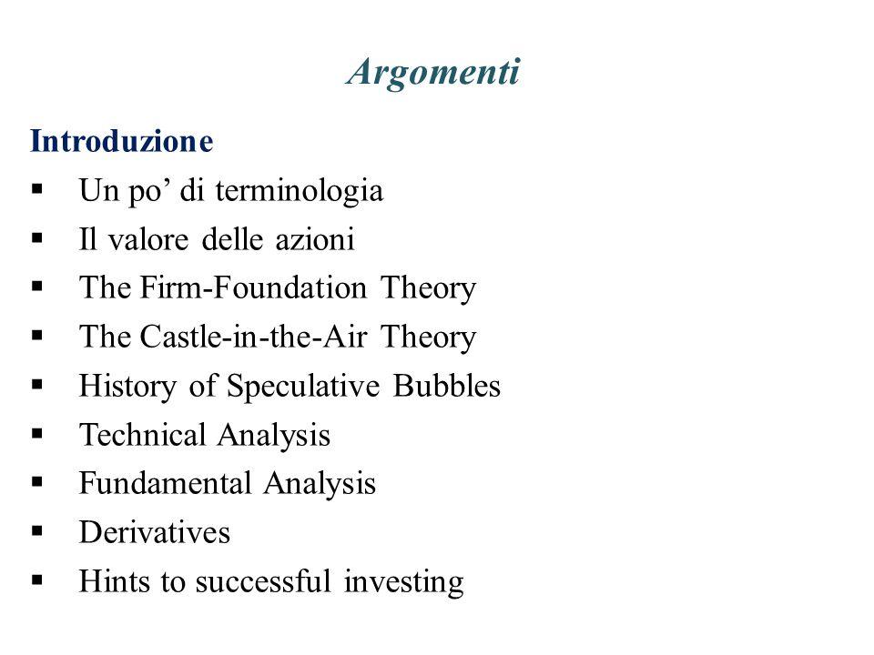 Argomenti Introduzione Un po' di terminologia Il valore delle azioni