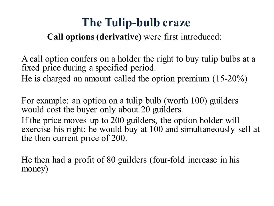 Call options (derivative) were first introduced: