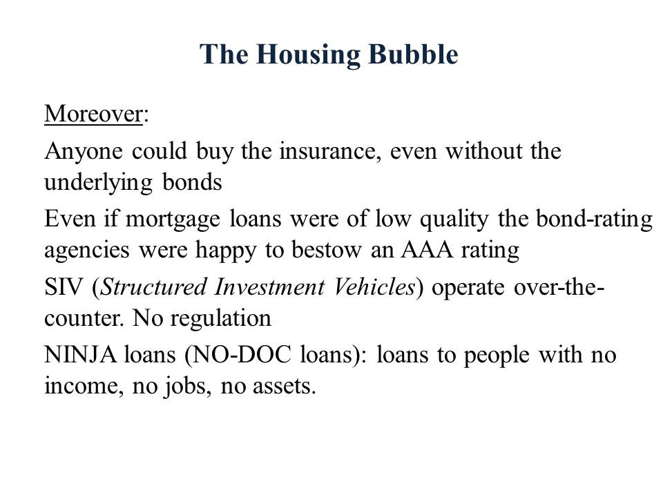 The Housing Bubble Moreover:
