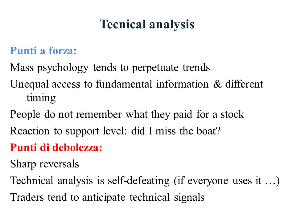 Tecnical analysis Punti a forza: