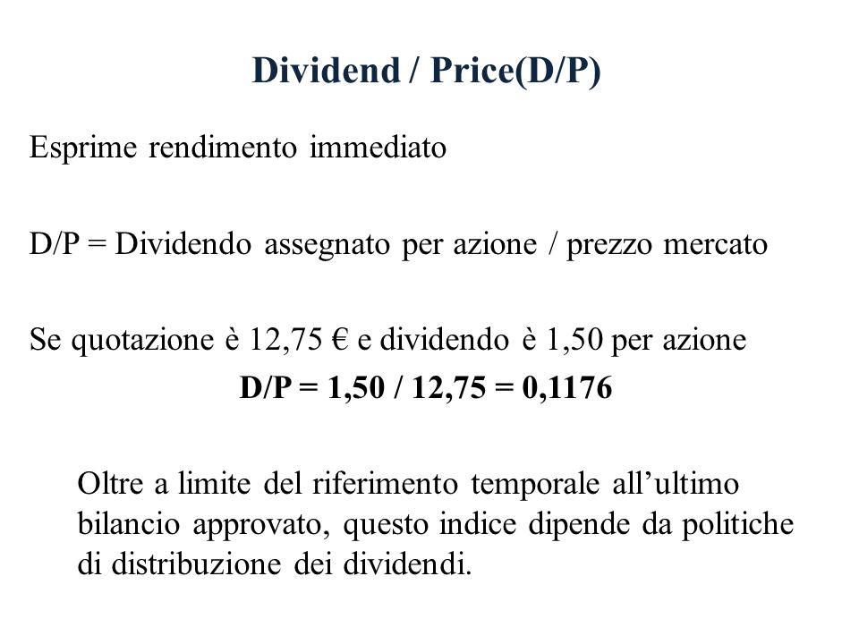 Dividend / Price(D/P) Esprime rendimento immediato