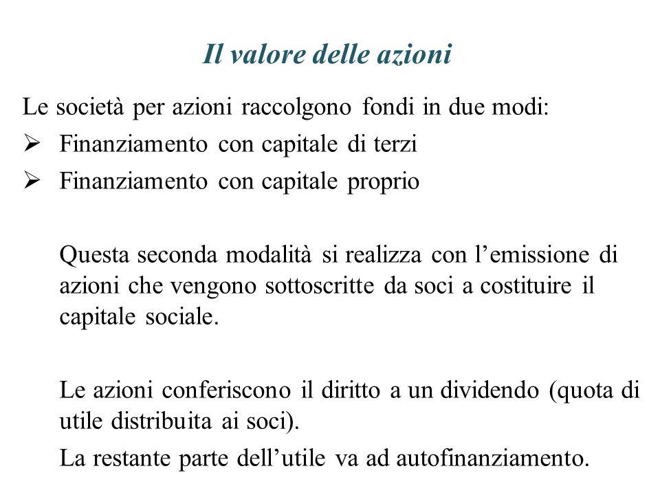 Il valore delle azioni Le società per azioni raccolgono fondi in due modi: Finanziamento con capitale di terzi.