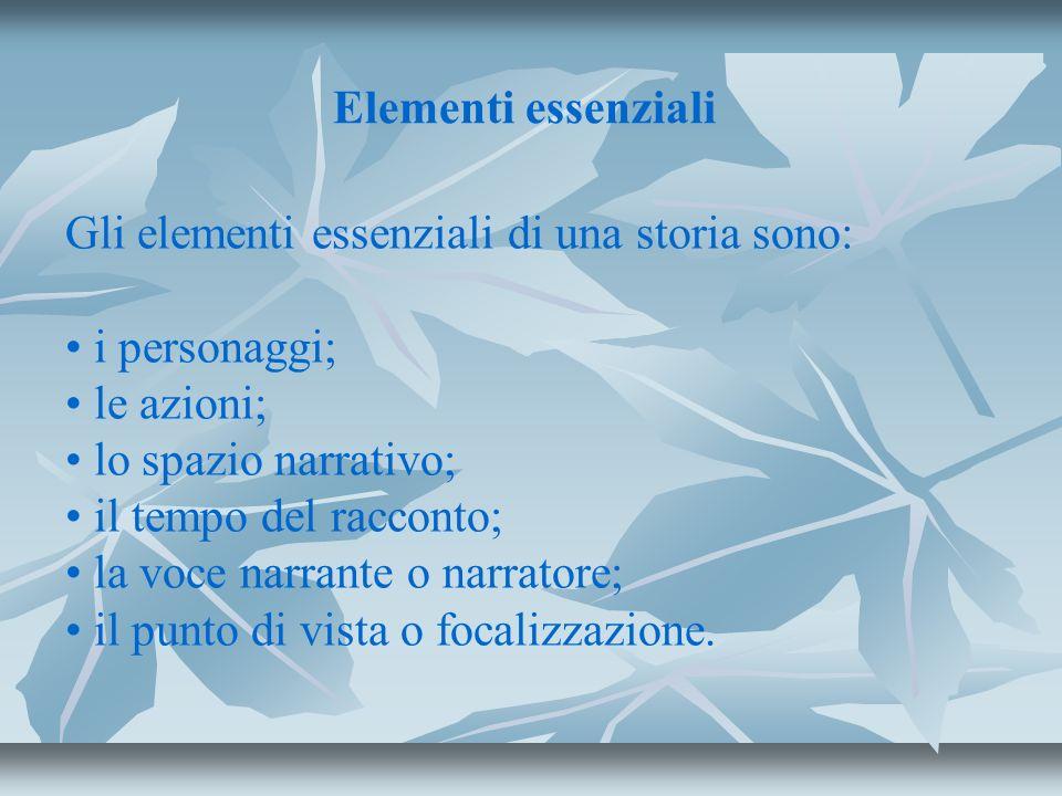 Elementi essenziali Gli elementi essenziali di una storia sono: i personaggi; le azioni; lo spazio narrativo;