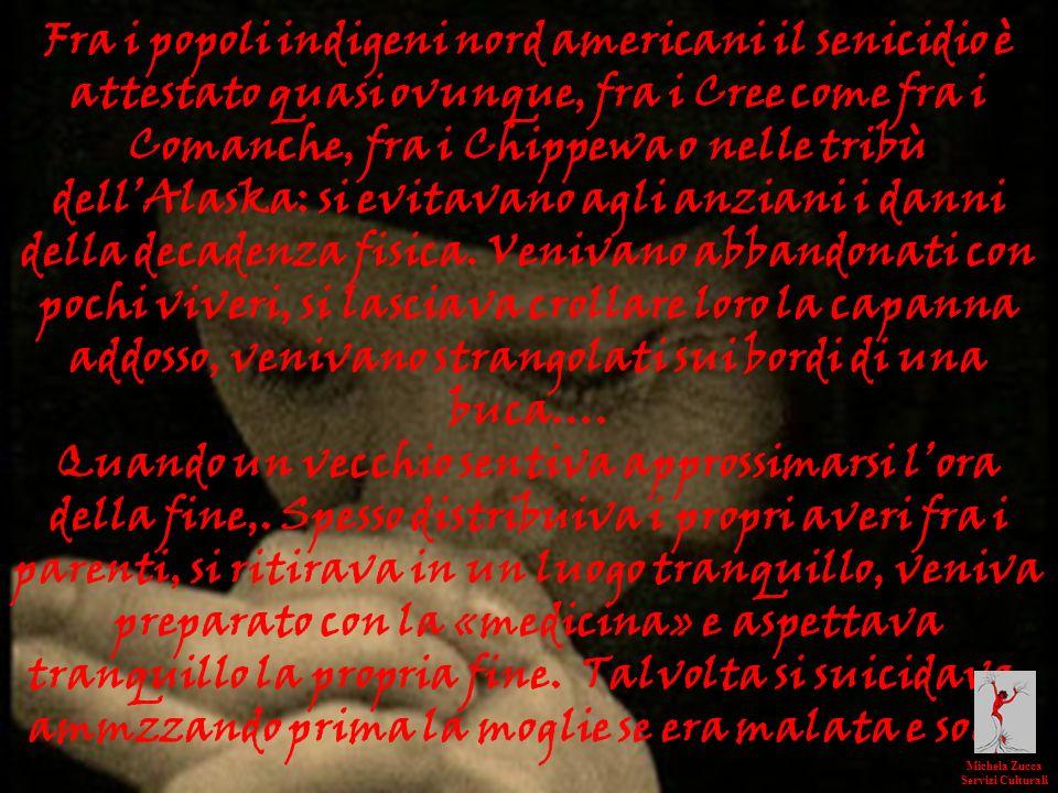 Fra i popoli indigeni nord americani il senicidio è attestato quasi ovunque, fra i Cree come fra i Comanche, fra i Chippewa o nelle tribù dell'Alaska: si evitavano agli anziani i danni della decadenza fisica. Venivano abbandonati con pochi viveri, si lasciava crollare loro la capanna addosso, venivano strangolati sui bordi di una buca….