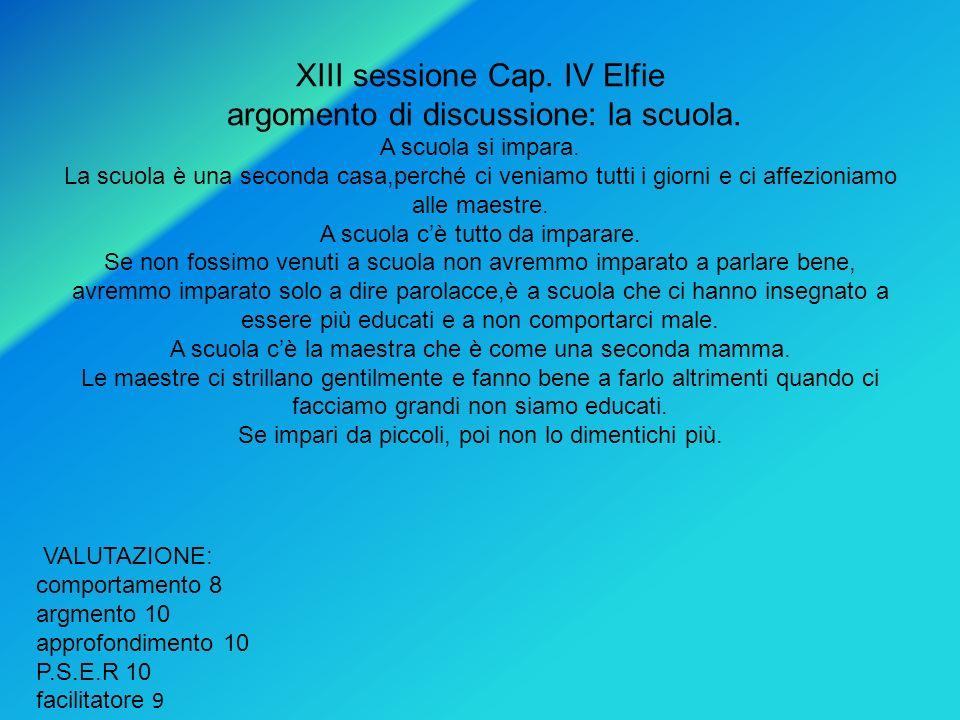 XIII sessione Cap. IV Elfie argomento di discussione: la scuola