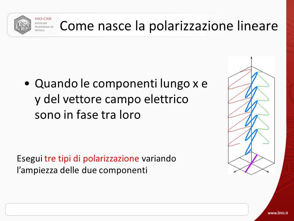 Come nasce la polarizzazione lineare