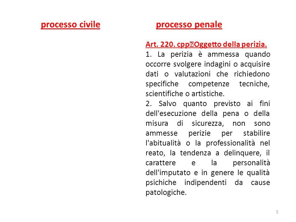 processo civile processo penale Art. 220. cpp Oggetto della perizia.