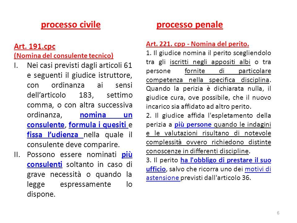 processo civile processo penale Art. 191.cpc