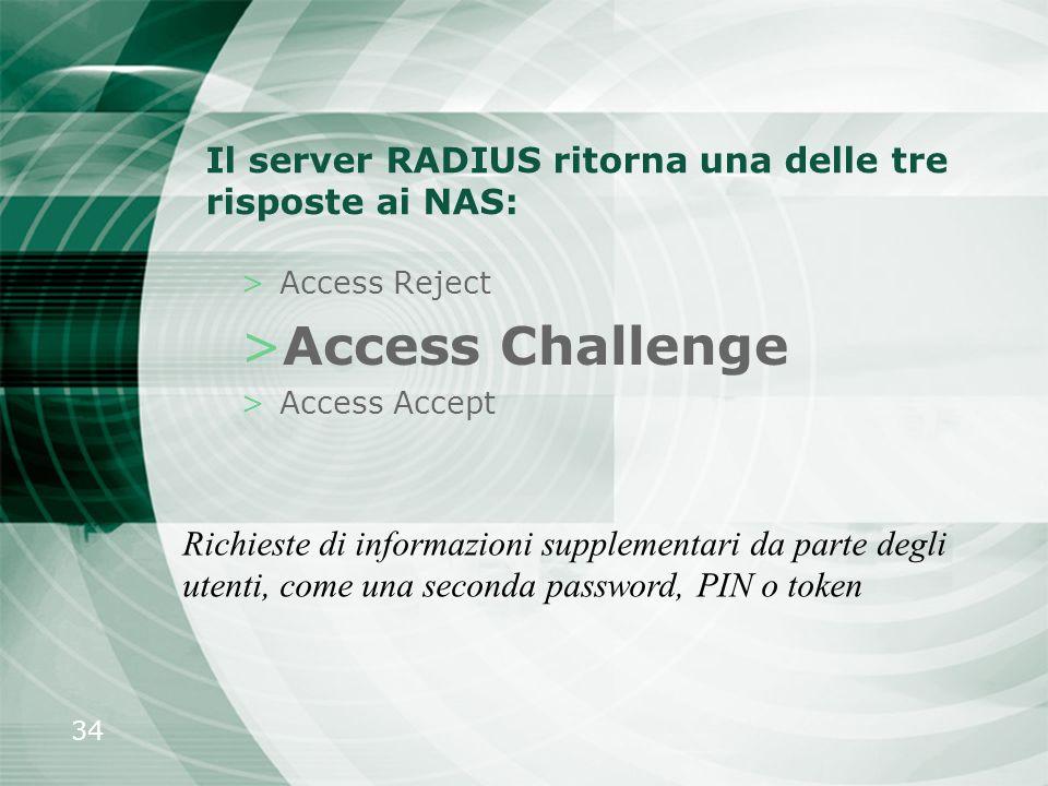 Il server RADIUS ritorna una delle tre risposte ai NAS: