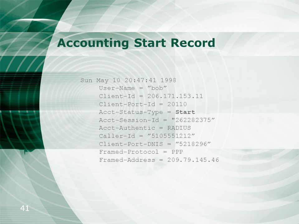 Accounting Start Record