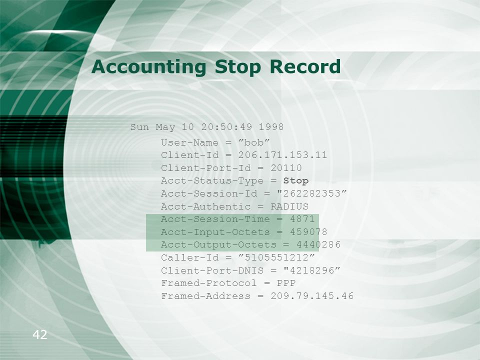 Accounting Stop Record