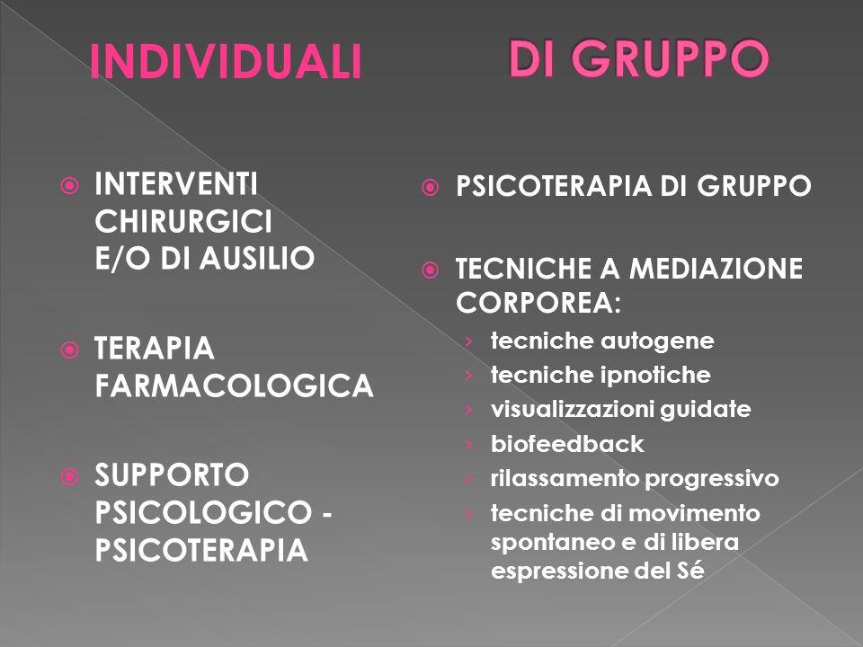 DI GRUPPO INDIVIDUALI INTERVENTI CHIRURGICI E/O DI AUSILIO
