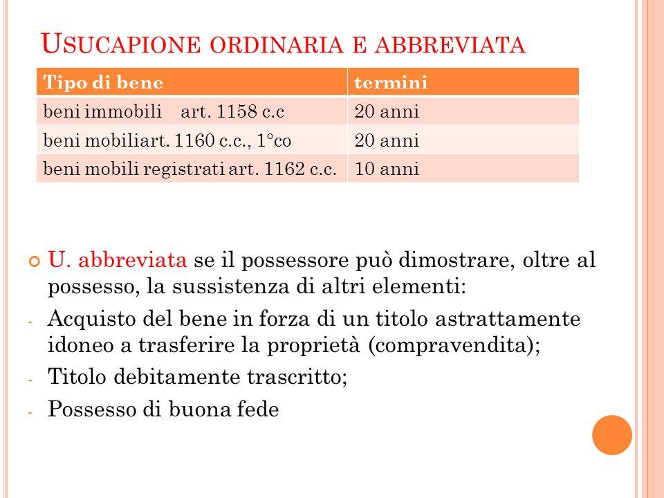 Usucapione ordinaria e abbreviata