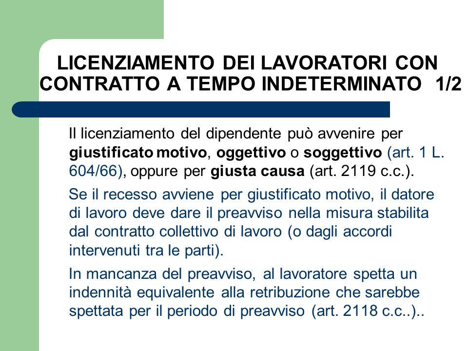 LICENZIAMENTO DEI LAVORATORI CON CONTRATTO A TEMPO INDETERMINATO 1/2