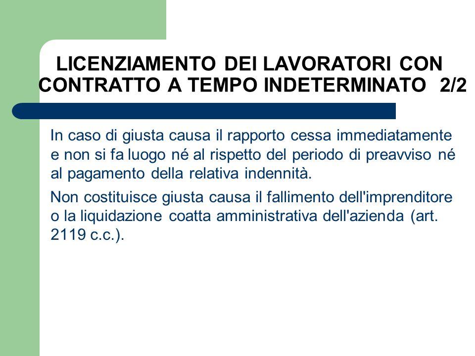 LICENZIAMENTO DEI LAVORATORI CON CONTRATTO A TEMPO INDETERMINATO 2/2