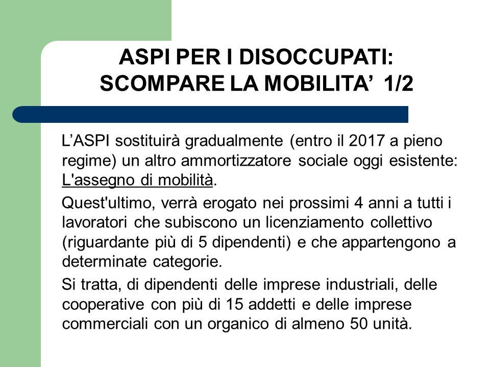 ASPI PER I DISOCCUPATI: SCOMPARE LA MOBILITA' 1/2