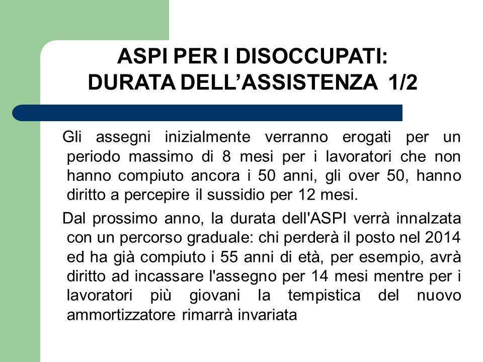 ASPI PER I DISOCCUPATI: DURATA DELL'ASSISTENZA 1/2