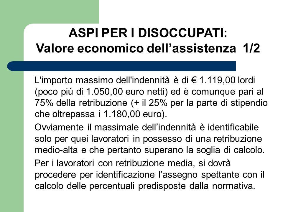 ASPI PER I DISOCCUPATI: Valore economico dell'assistenza 1/2