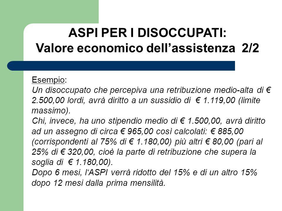 ASPI PER I DISOCCUPATI: Valore economico dell'assistenza 2/2