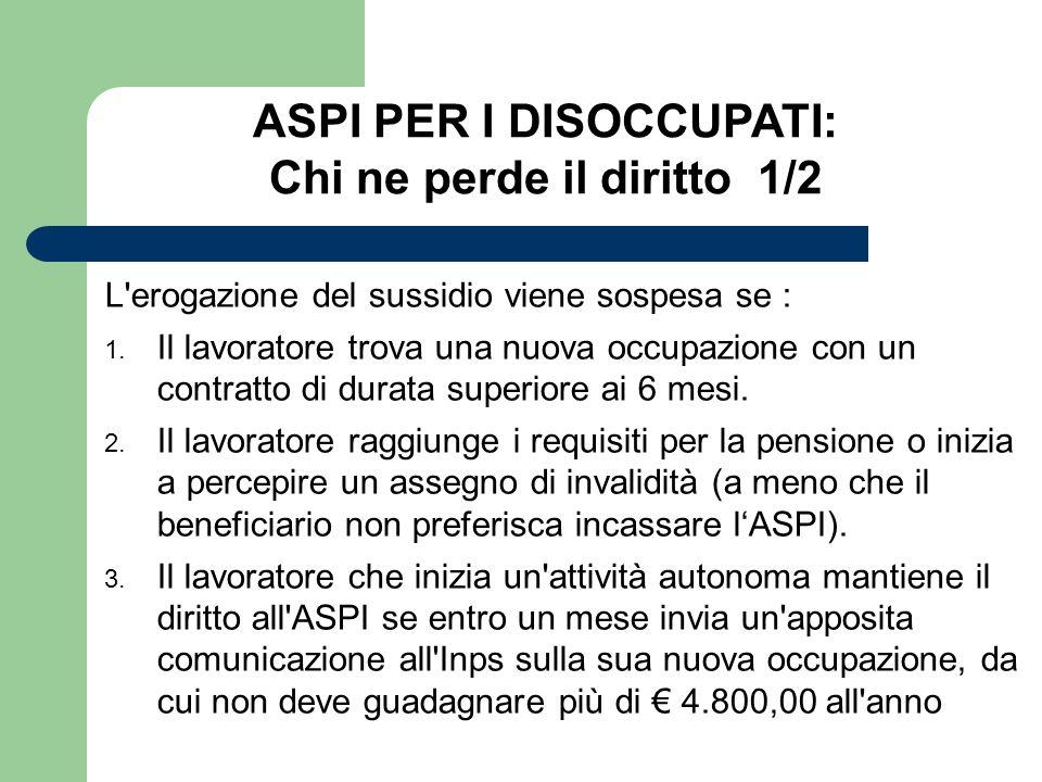 ASPI PER I DISOCCUPATI: Chi ne perde il diritto 1/2