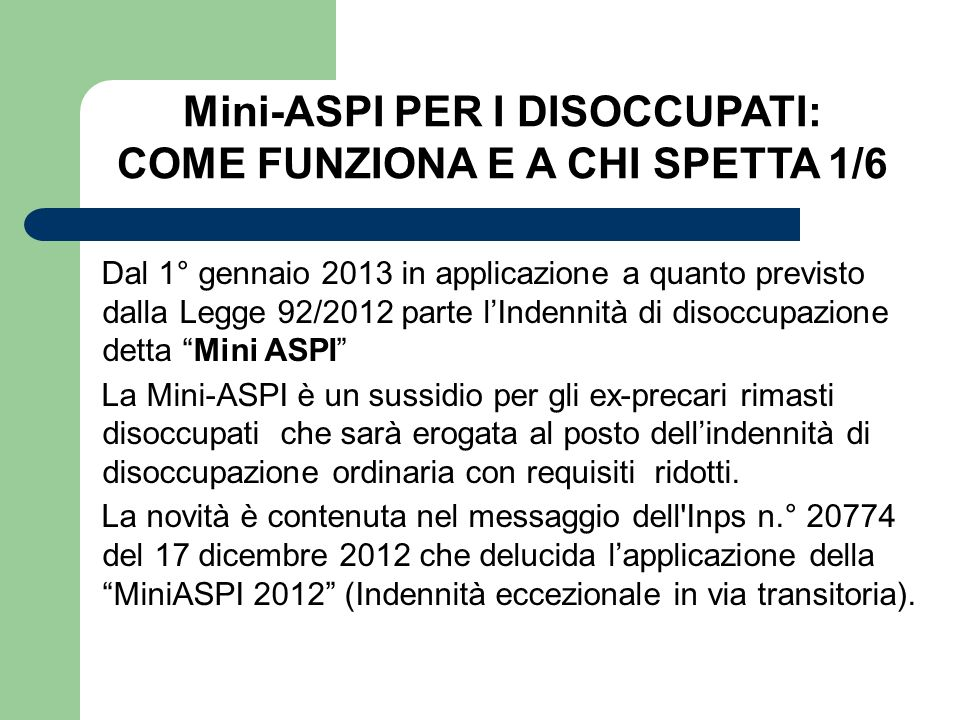 Mini-ASPI PER I DISOCCUPATI: COME FUNZIONA E A CHI SPETTA 1/6